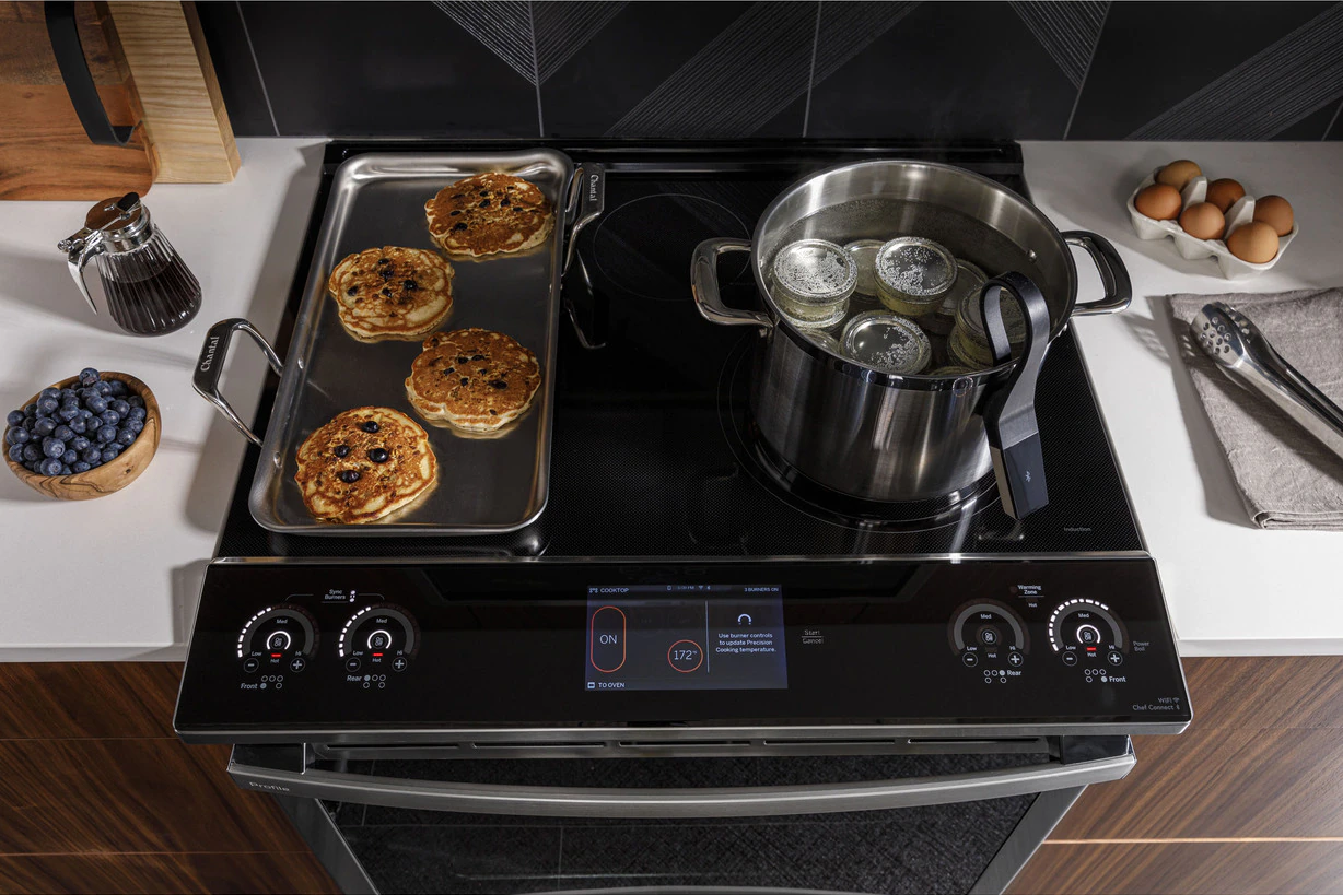 "GE Profile 30"" Slide-In Electric Range with Induction Cooktops and Convection Oven, Model PHS930YPFS."
